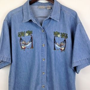 Allyson Whitmore Womens Embroidered Blue Top 2X